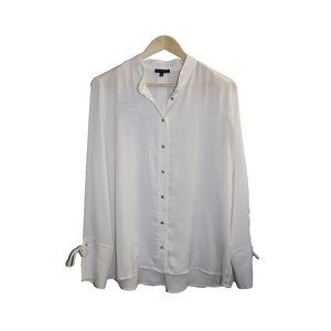 Dynamite White Silky Tie Sleeve Button Up Blouse